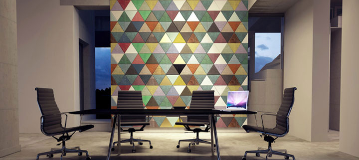 Multi-colored wall design using leather tiles