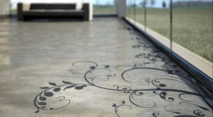 Decorative cement floor with dark swirl patterns