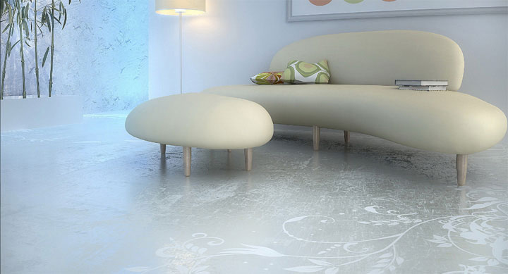 Light-colored concrete enhanced with white floral patterns