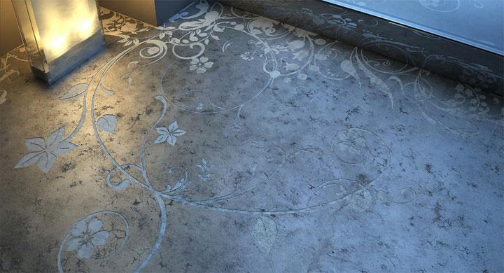 Floral patterns etched into concrete floors