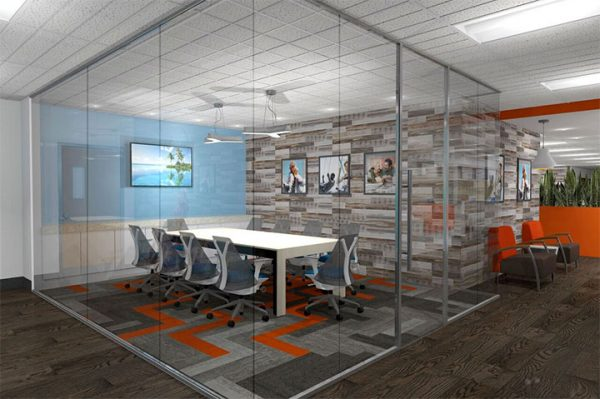 Office Design - Bright Orange and Earthy Touches Turn Investment Office into Cozy Place