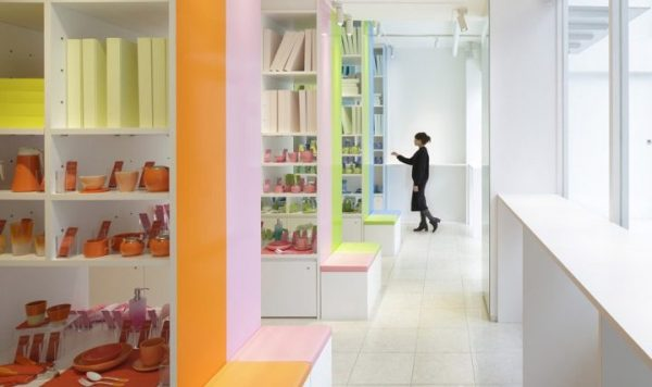 colorful shelves in store design