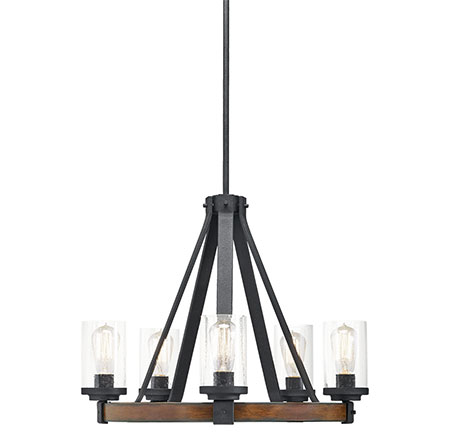 This Kichler Lighting Barrington 5 Light Chandelier Combines Iron Wood And Gl For A Rustic Look