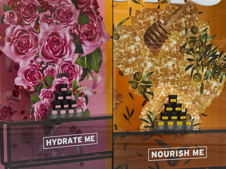 Eye-catching window displays for cosmetic masks
