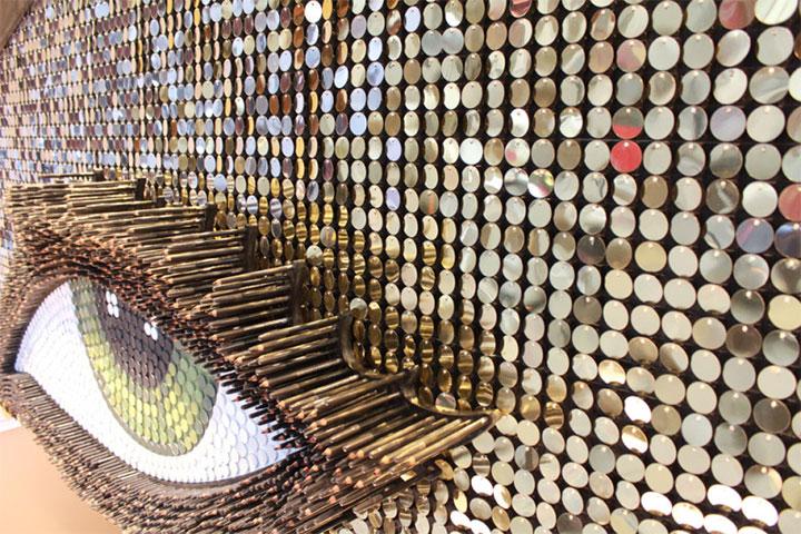 Cosmetics storefront flaunts giant eye made of kohl