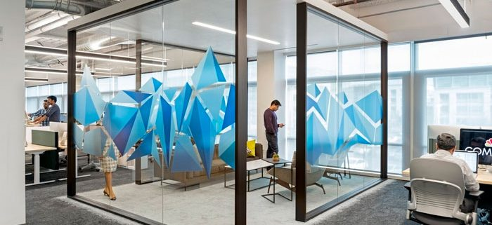 Blue details of offoce glass walls