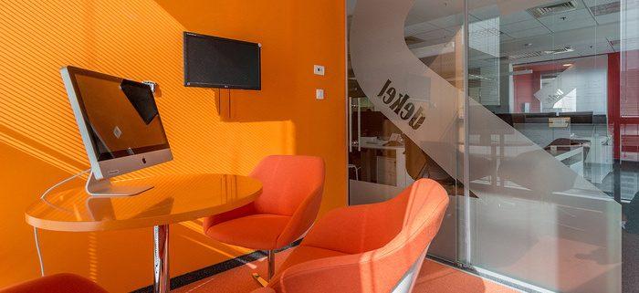 Bright orange office interior
