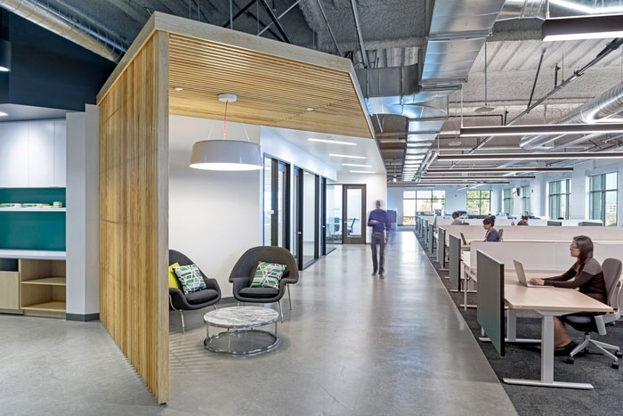 Unique wooden structures separates office areas
