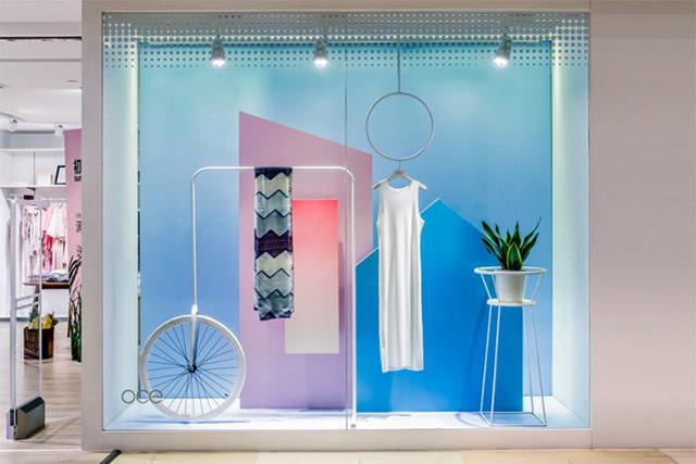 Minimalist window setting for clothing shop