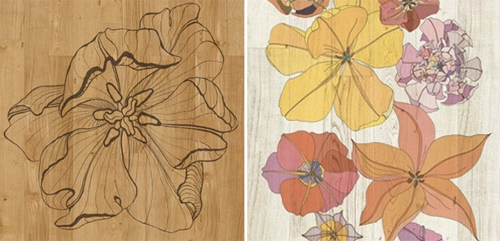 One-color and multi-color wood planks with personality