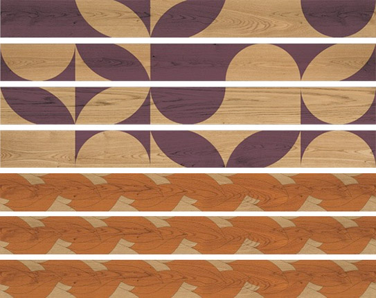Decorative wood floors with geometric and floral patterns