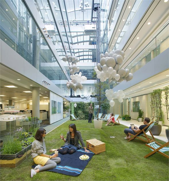 Green office floors recreate the look of grass
