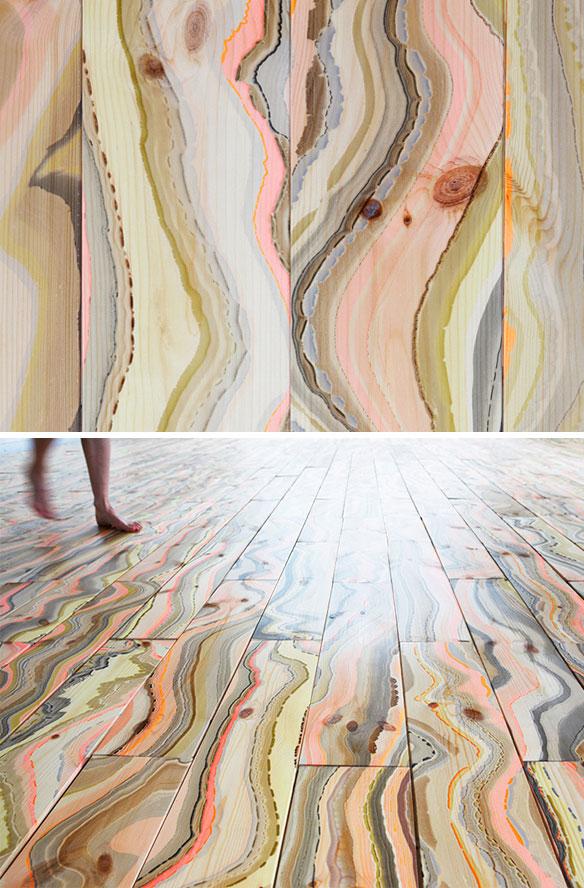 Marbled wood planks that recreate the look of tree rings