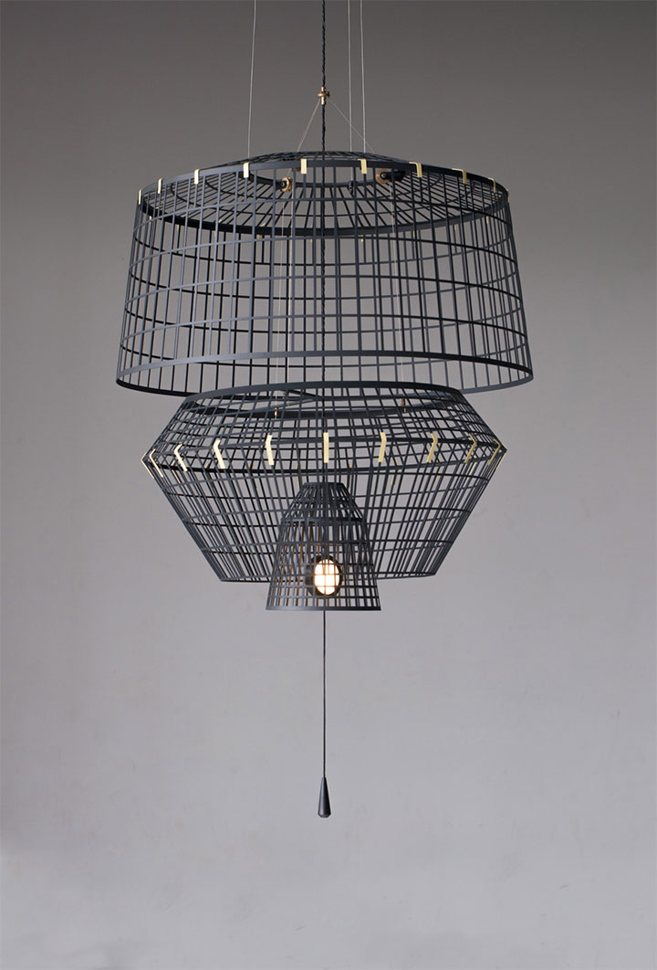 Beautiful light fixture made of three metal cages