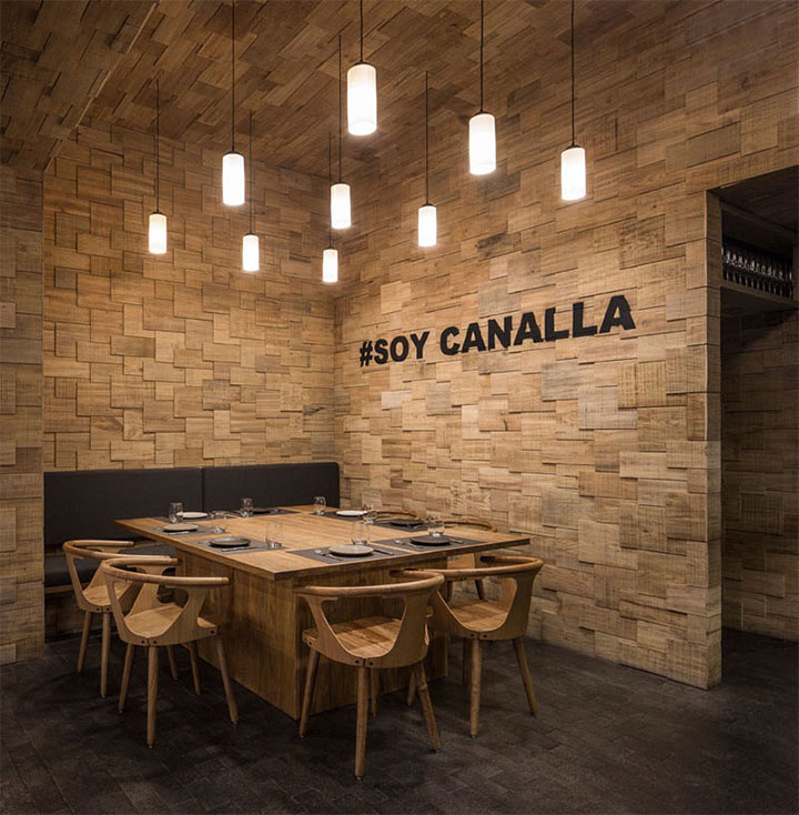 Restaurant walls and ceilings covered in wood shingles from old orange crates