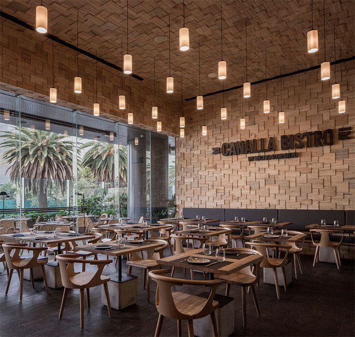 Wood shingle wall treatment covering an entire restaurant