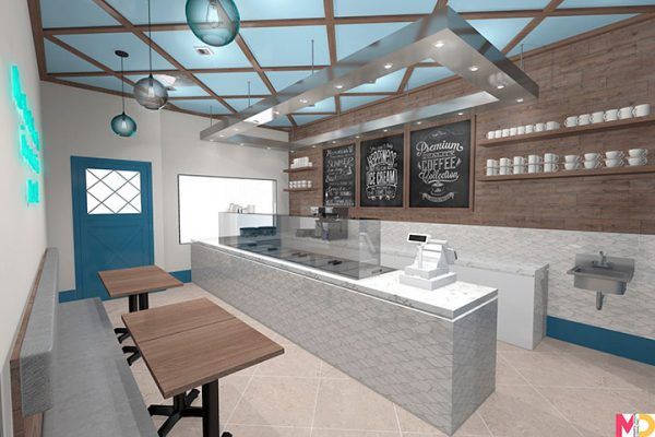 Ice Cream Store Interior Translates the Beauty of the Ocean into Elements of Design