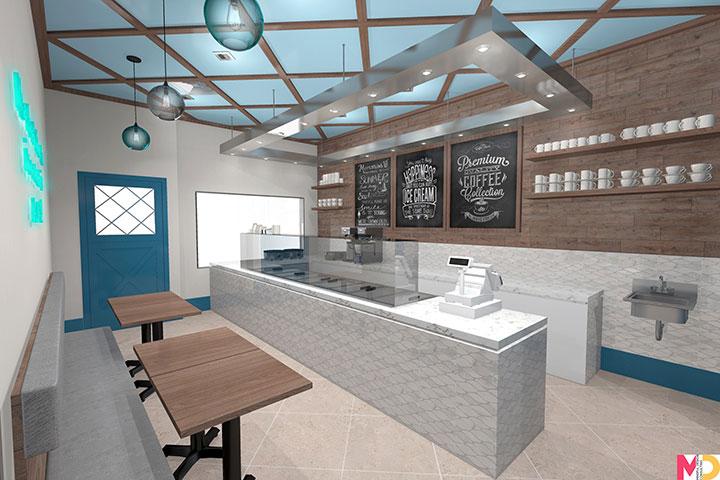 Natural tones in interior design for ice-cream store business