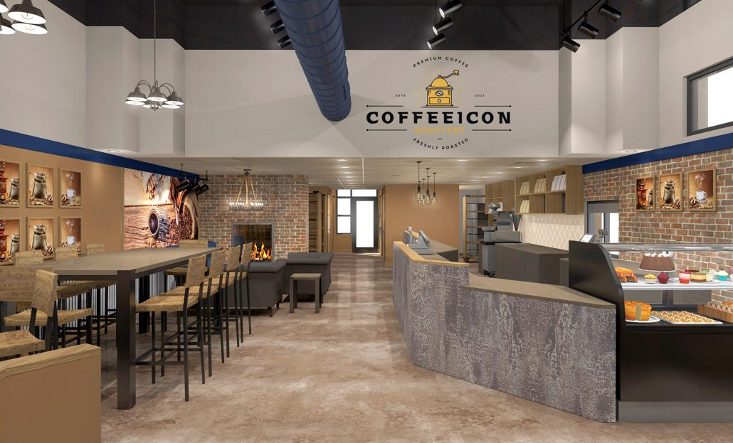 Coffee Icon Interior Branding By Mindful Design Consulting