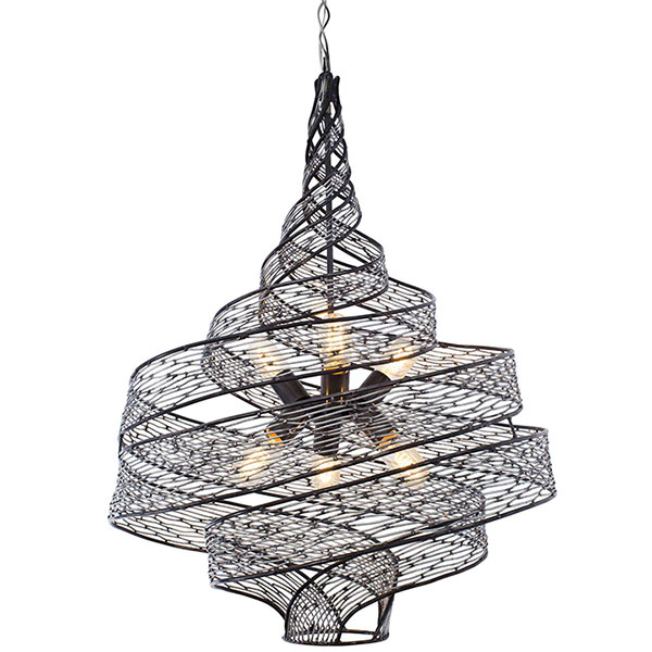 2018 lighting trends include unique fixtures like this ribbon-shaped chandelier