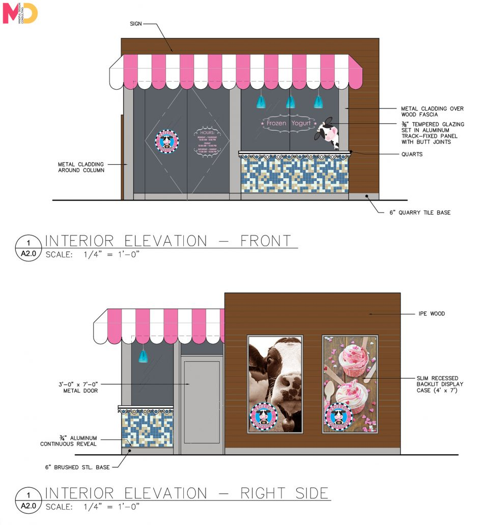 Happy Cow frozen yogurt shop kiosks designed by Mindful Design Consulting team