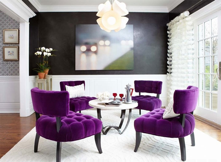 2018 Pantone color of the year used in accent pieces such as purple accent chairs