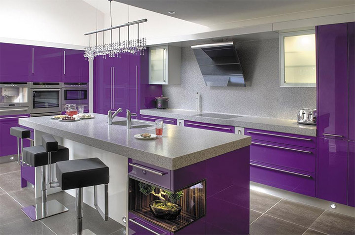 Striking kitchen shows Pantone's Ultra Violet potential as a background color