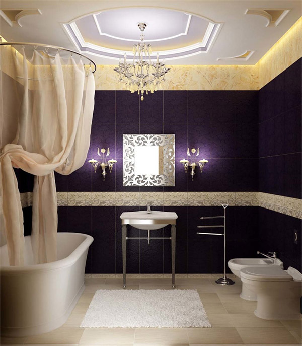 The Pantone Color of the year 2018 used as purple wall treatment in luxurious bathroom