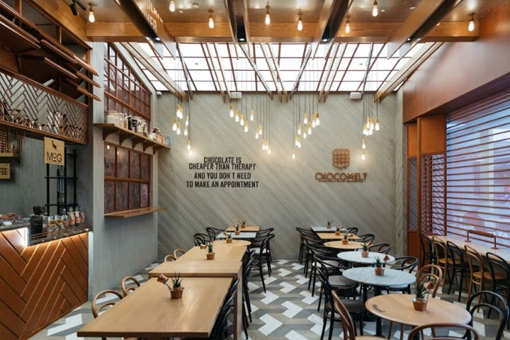 Coffee Shop Design Uses Chocolate Bars and Cocoa Beans as Inspiration