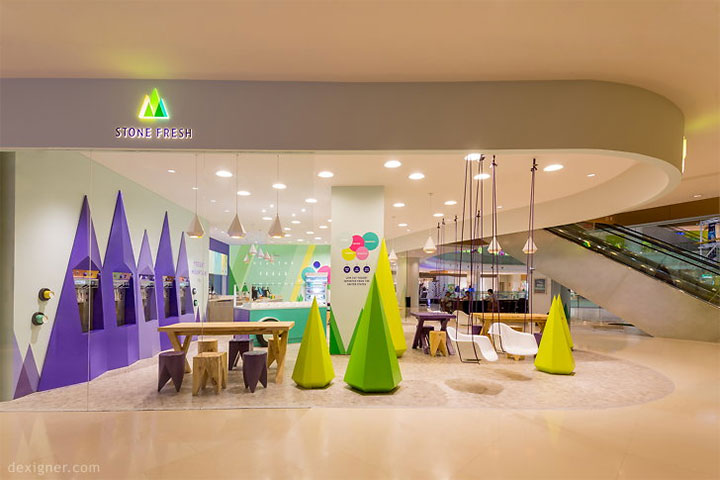 Yogurt Store Interior Design Recreates Mountainous Landscape