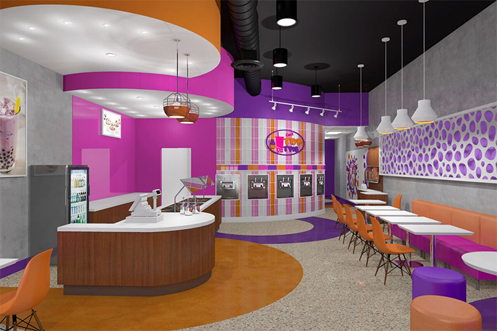Our New Boba Tea and Frozen Yogurt Store Interior Design Plays with Colors and Shapes