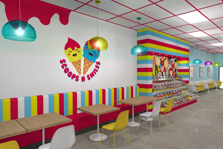 Red Yellow Blue Icecream Store Interior Design