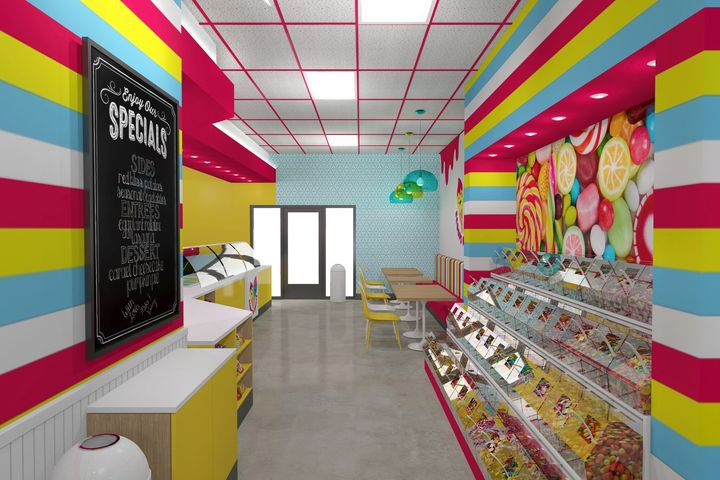 Bright colors in candy shop interior design