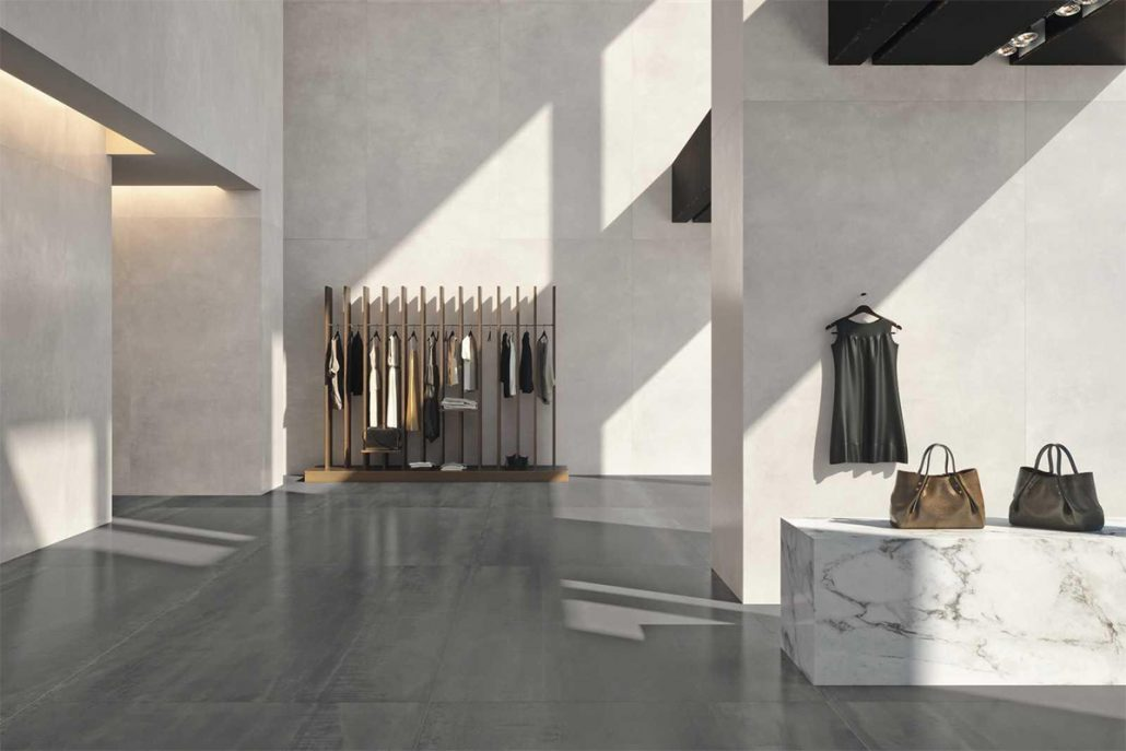 Large size concrete slab tiles is part of wall finishes trends