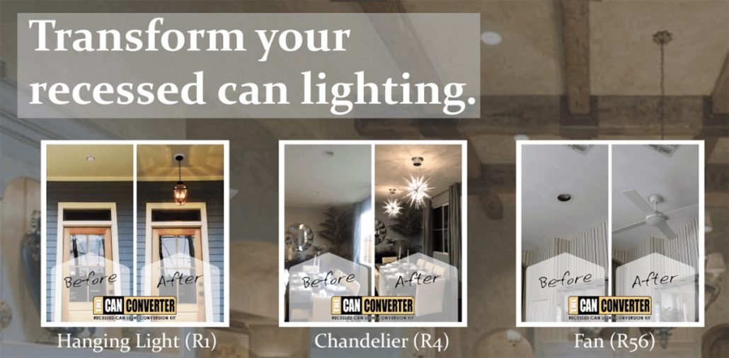 Recessed light into Chandelier converter