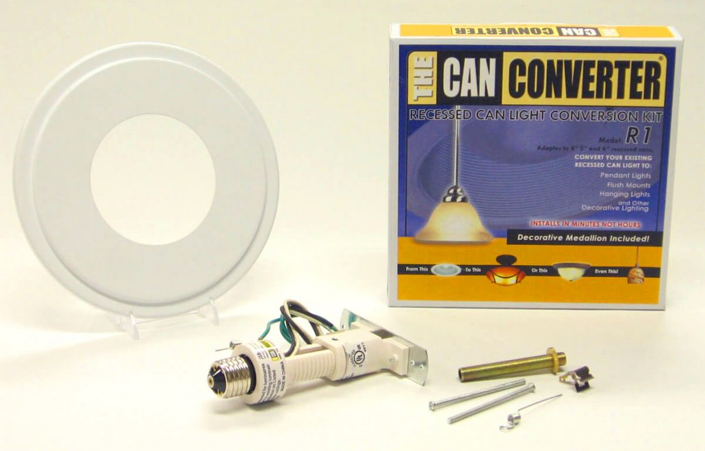 Recessed light into chandelier converter kit
