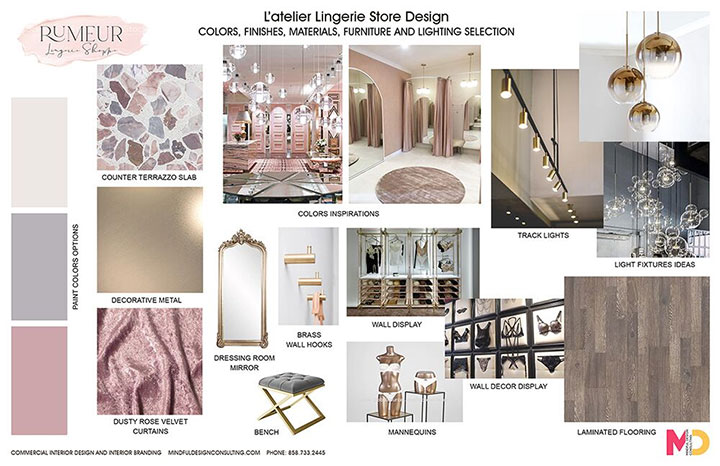 Lingerie Store Interior Design Materials Board