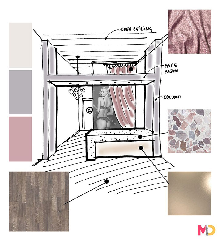 Lingerie Store Interior Design Sketches Ideas