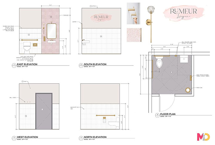 Restroom interior elevations details