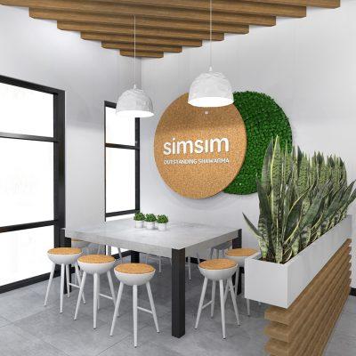 SimSim restaurant design green wall