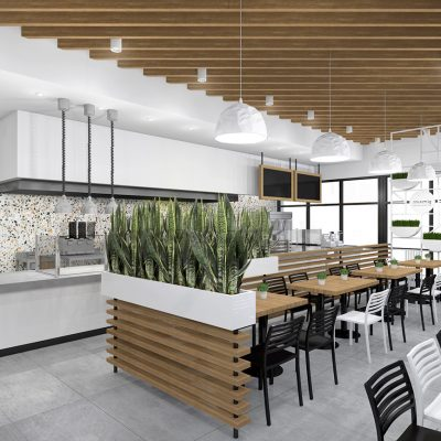 SimSim restaurant design white colors