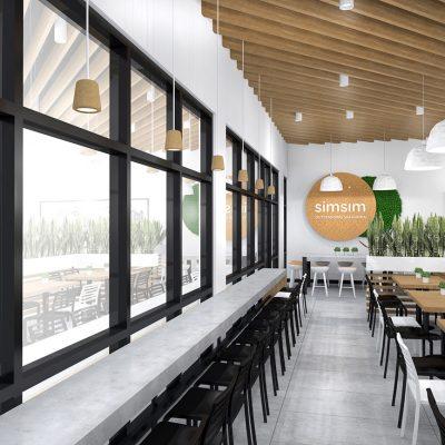 SimSim restaurant design window counter