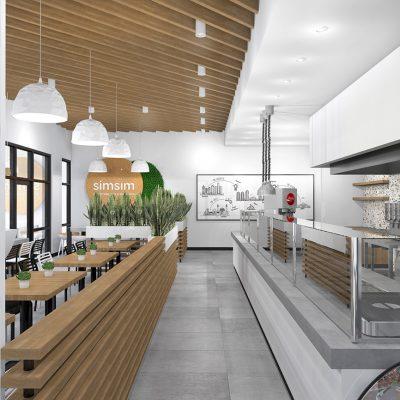 SimSim restaurant design wood ceiling