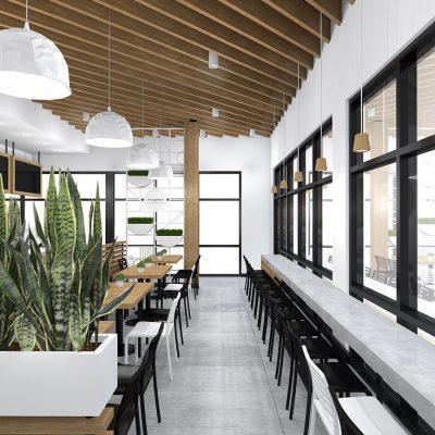 SimSim restaurant design wood slats ceiling