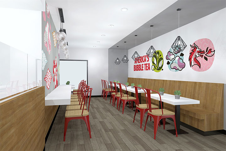 Branding images used as wall graphics in boba tea store design