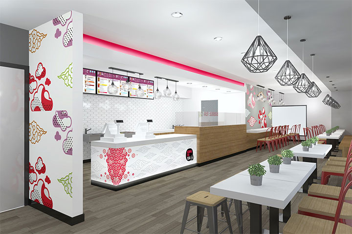 Bubble tea shop interior design with colorful wall graphics