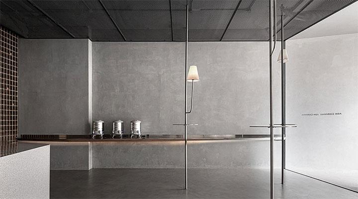 Simple self-serving area in minimalist restaurant design