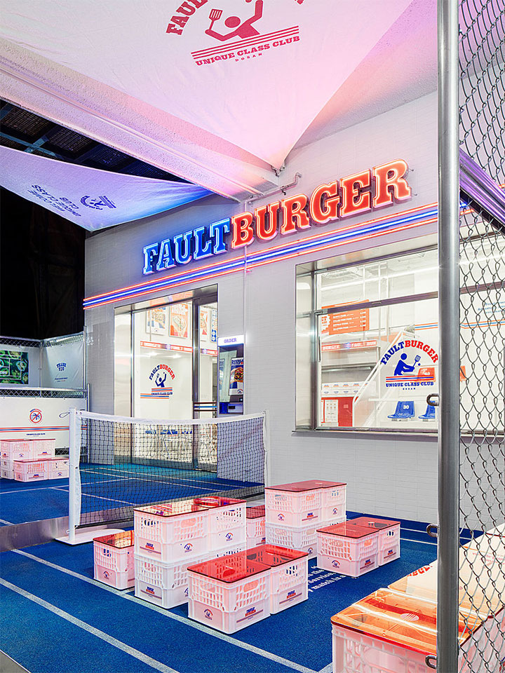 Sports-inspired restaurant design with a tennis theme