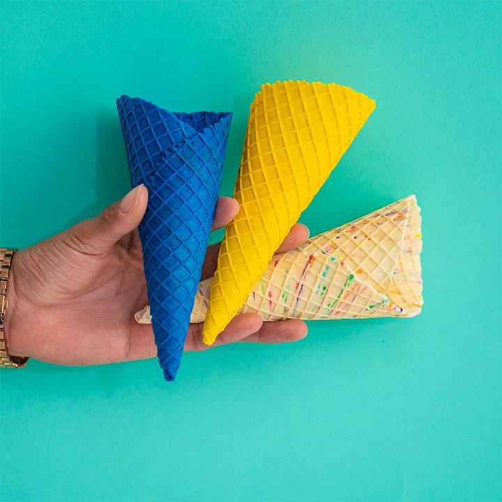 Colored waffle cones for ice cream or yogurt
