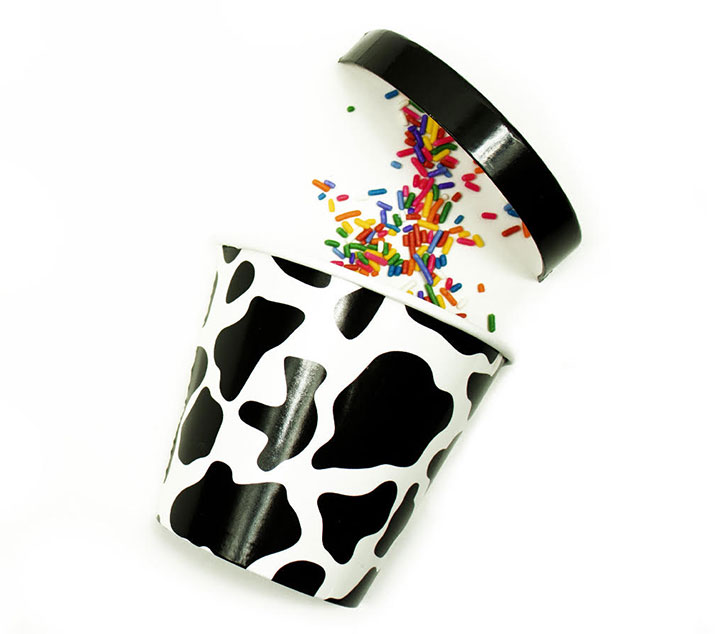 Cow print container for ice cream